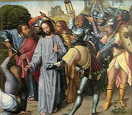 270px-'The_Arrest_of_Christ',_oil_on_panel_painting_by_the_Master_of_the_Evora_Altarpiece,_c-1._1500,_Museu_de_Évora,_Portugal