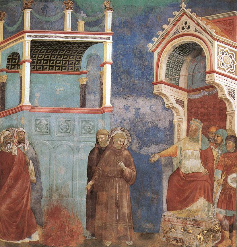 Giotto_-_Legend_of_St_Francis_-_-11-_-_St_Francis_before_the_Sultan_Trial_by_Fire